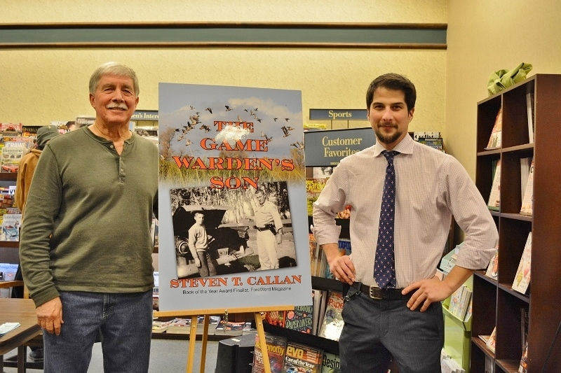 Author Steven T. Callan and store manager Zach Ortwein at Callan's Chico Barnes and Noble Book Signing for The Game Warden's Son
