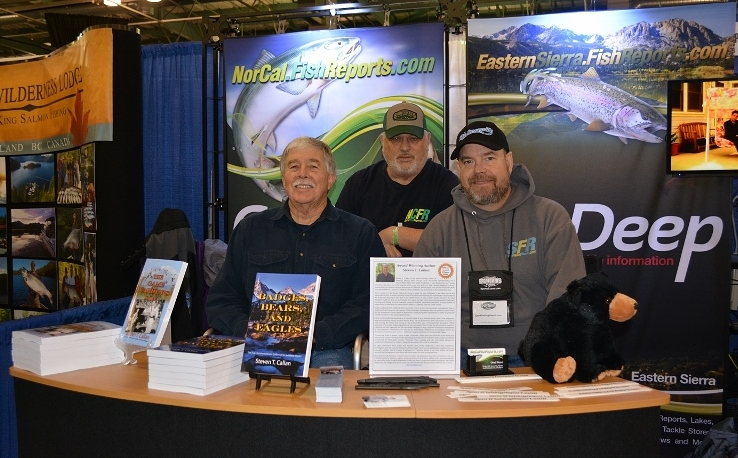 Author and columnist Steven T. Callan; columnist Gary Heffley; and Chad Woods, owner of Nor Cal Fish Reports and MyOutdoorBuddy, at the book signing for The Game Warden's Son at the International Sportsmen's Expo in Sacramento