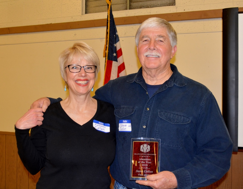 """Kathy Callan and author Steven T. Callan with his """"Alumnus of the Year"""" award at the Orland Alumni Association Awards Dinner."""