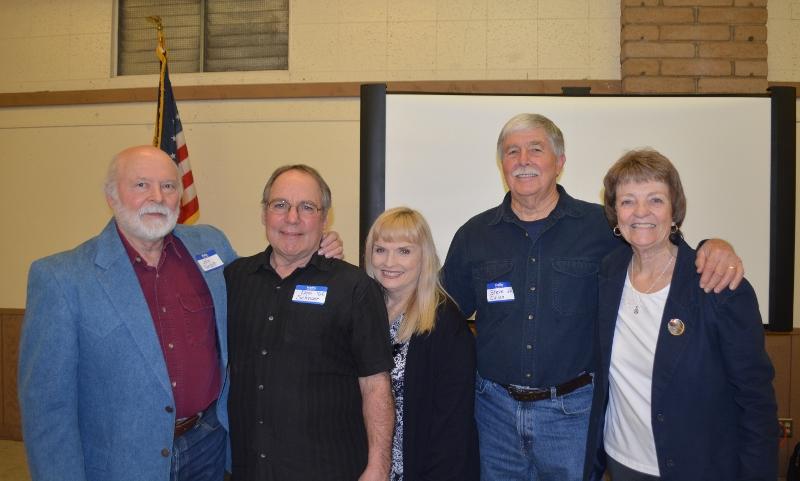 Author John D. Nesbitt, Don Schroer, OAA Vice President Linda Schroer, Author Steven T. Callan, and OAA Secretary Kathy Congdon at the Orland Alumni Association Awards Dinner.