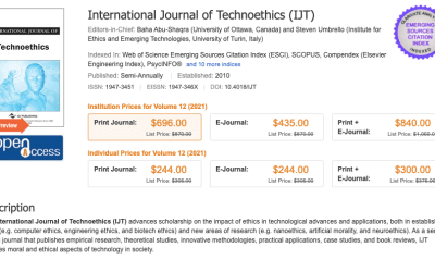 co-Editor of the International Journal of Technoethics