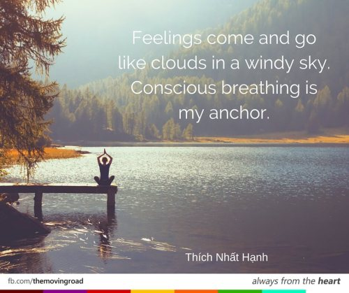Feelings come and go like clouds in a windy sky. Conscious breathing is my anchor. Thích Nhất Hạnh