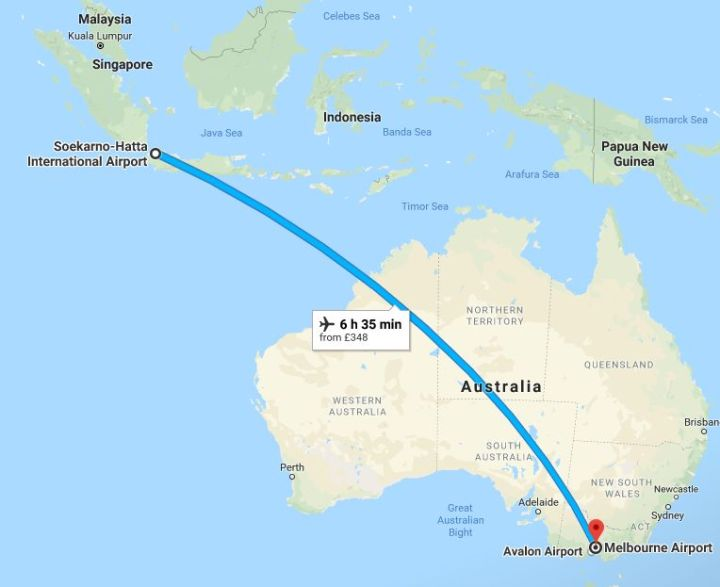 Jakarta airport to Melbourne airport flight route