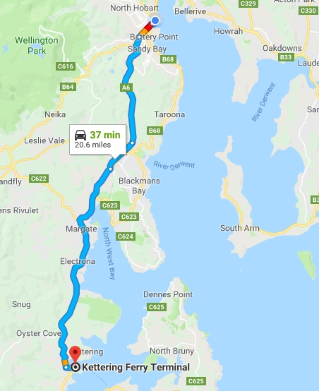 hobart to kettering