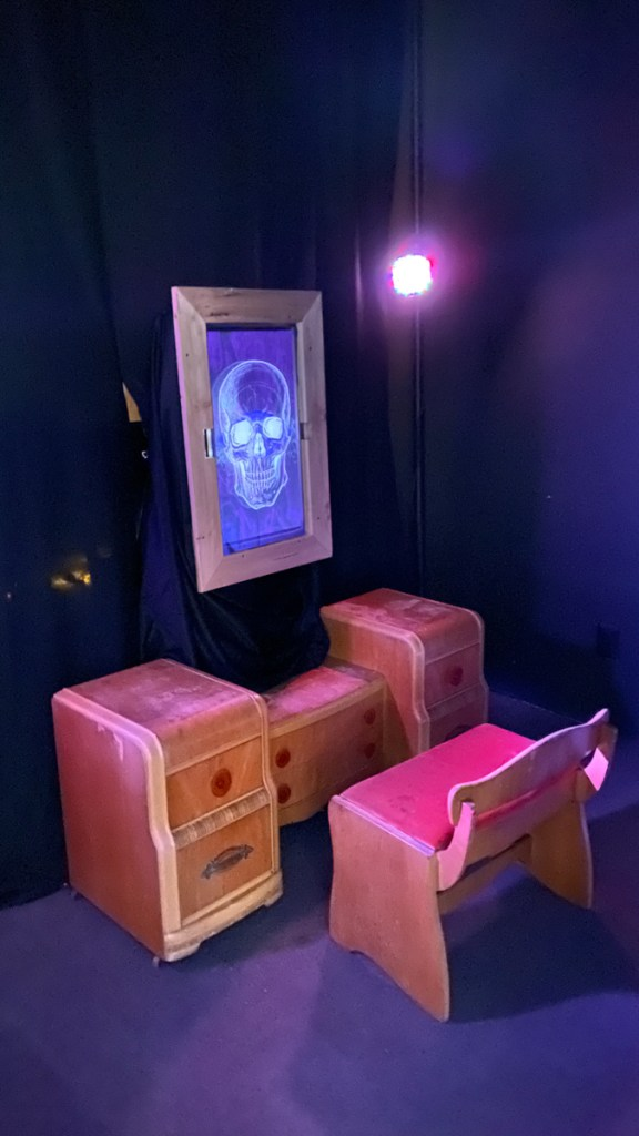 Set up of the Magic Mirror with the curtain separator at Gray Area, November 2019