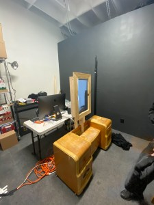 Set up of the Magic Mirror without divider curtain at Gray Area, November 2019.