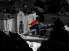 Photo of the Pride Flag waving over the Castro District. San Francisco   2003.