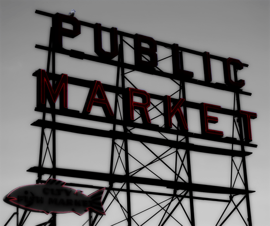 Photo of Seattle's Pike Place Market marquee.   2008.