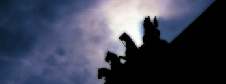 Photo of the Quadriga atop the Brandenburger Tor, Berlin, Germany. | 17-Apr-00.