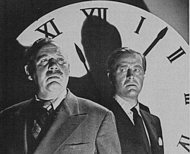 Charles Laughton and Ray Milland in front of the Big Clock
