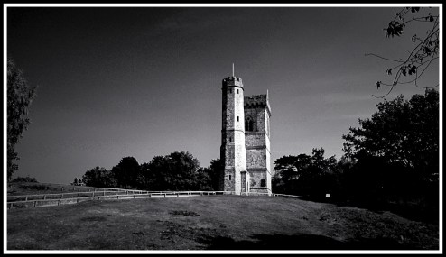 a black and white landscape photo of leith hill tower from further down the hill.