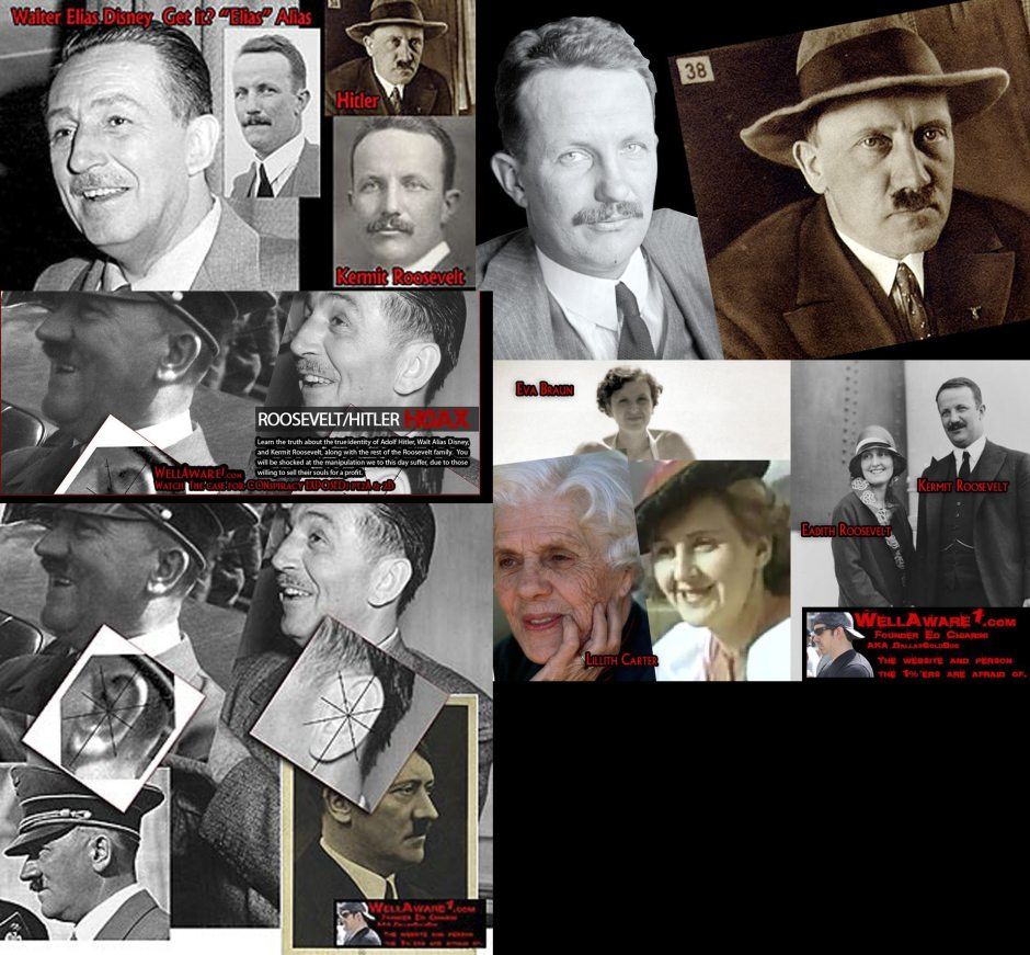 Kermit Roosevelt played the role of Walt Disney and Adolph Hitler. There were never any people in real life named Walt Disney or Adolph Hitler. This is the truth they don't want you to know.