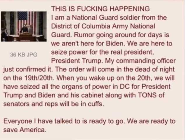 Military in DC more than likely not there for Biden. Biden will not be president.