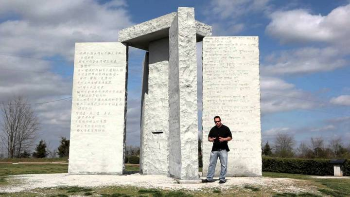 Covid Vaccine agenda for world depopulation. The Georgia Guidestones are a granite monument erected in 1980 in Elbert County, Georgia, in the United States. A set of ten guidelines is inscribed on the structure in eight modern languages and a shorter message is inscribed at the top of the structure in four ancient language scripts.