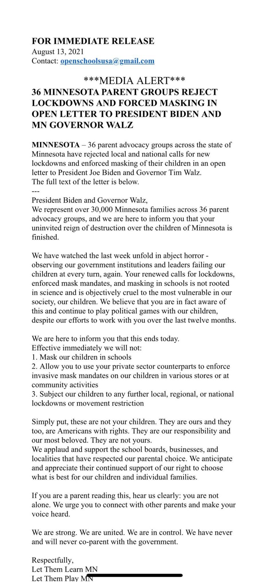 Minnesota parents refuse lockdowns and mask mandates for school children. Parents oppose DemocratGovernor Tim Walz'slatest mask mandates.