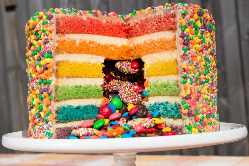 Rainbow Pinata Cake Easy Cake Batter Steve S Kitchen