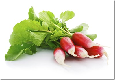 fresh red radish with green leaf