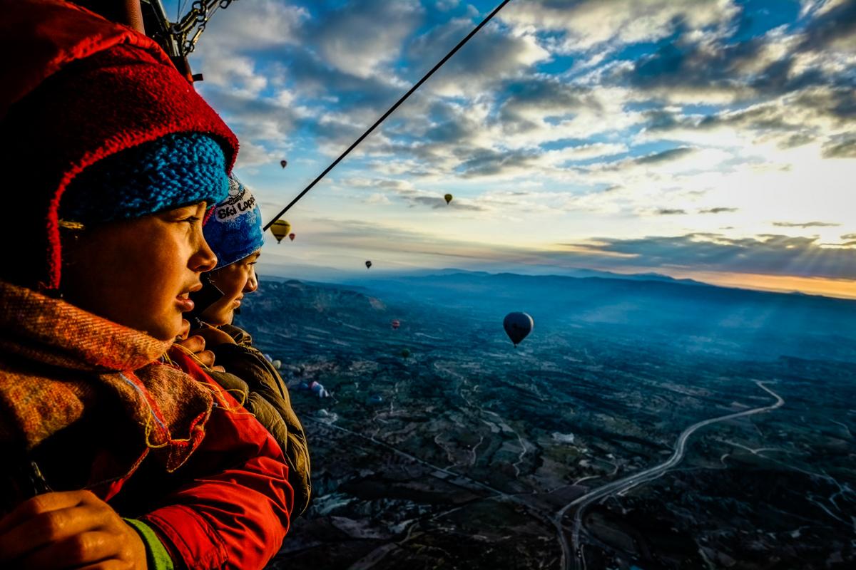 Enjoying the sunrise a thousand feet up.