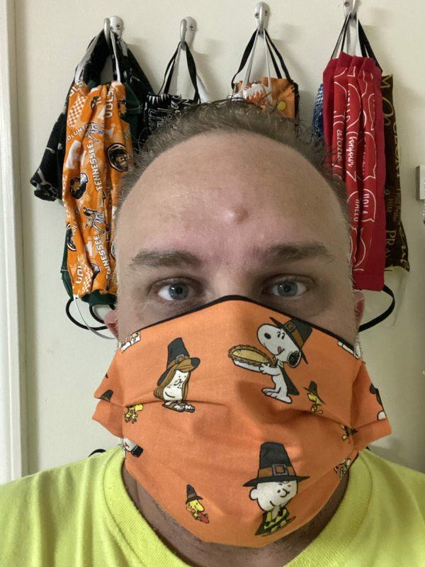 Orange Thanksgiving Peanuts Face Mask