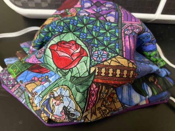 Belle's Stained Glass Face Mask - a Beauty and the Beast-themed face masks using stained glass. #BeautyBeast