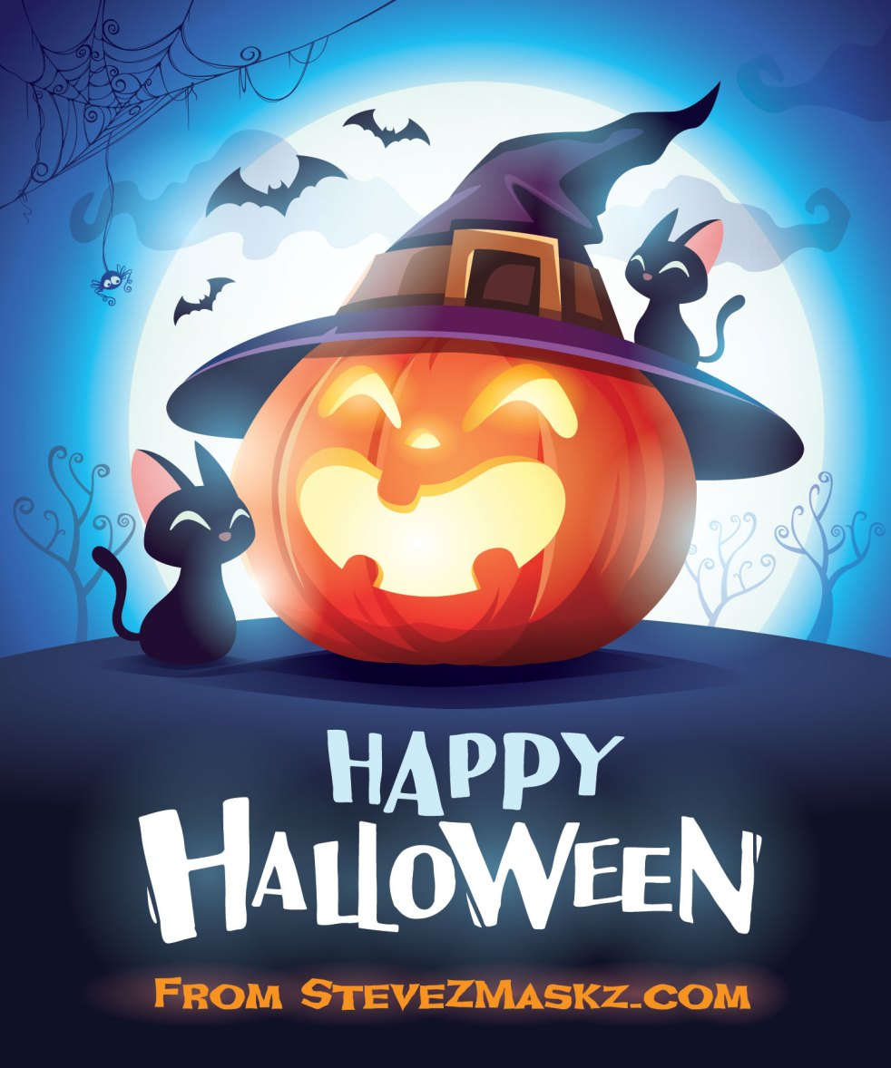 Happy Halloween a greeting message to wish you all a happy and safe Halloween from SteveZ MaskZ. #SteveZMaskZ #Halloween