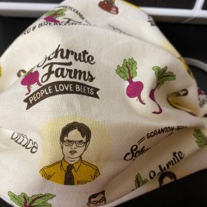 The Office Face Mask - a face mask based off the TV show The Office and the Schrute Farms Bed & Breakfast where people love beets. #TheOffice