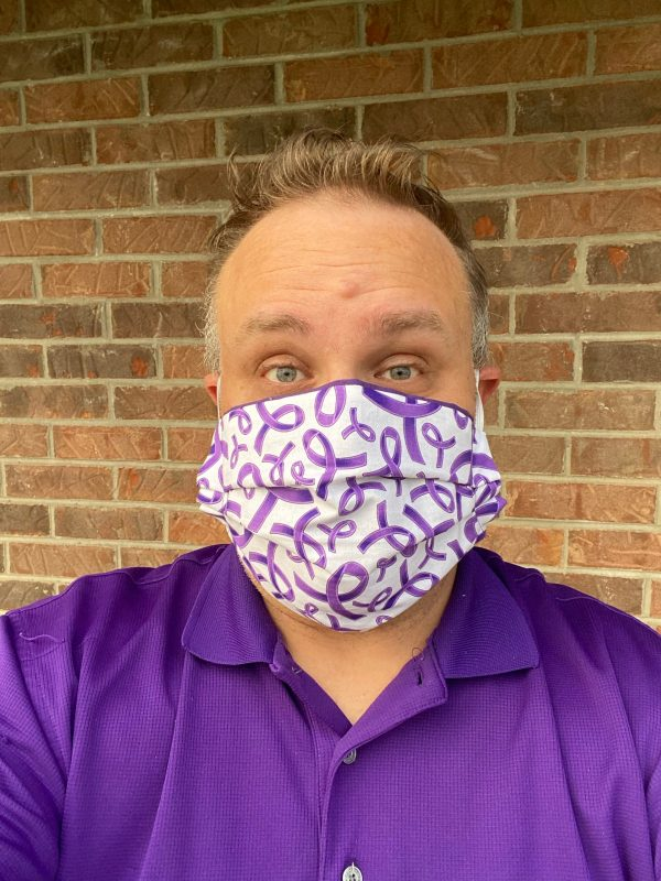 Purple Ribbon Face Mask - this face mask is great for raising awareness for multiple causes that uses the purple ribbon. #PurpleRibbon