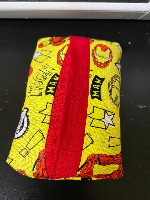 Iron Man Pocket Tissue Holder - A pocket-sized tissue holder with Marvel's Iron Man on it. #IronMan #Marvel #Avengers