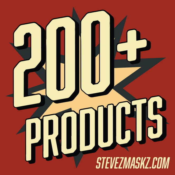 200+ Products - There currently are over 200 products, mostly face masks, on SteveZ MaskZ, including zipper pouches (clutches) and pocket tissue holders. #SteveZMaskZ
