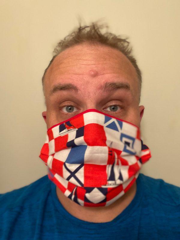 Mariner Flags and Sailboats Face Mask - This face mask has Mariner Flags and Sailboats on it. #Sailboats #Sailboat #MarinerFlag