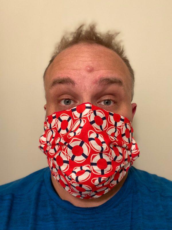 Oh Buoy Face Mask - This nautical face mask has buoys on it. #Buoy #OhBuoy