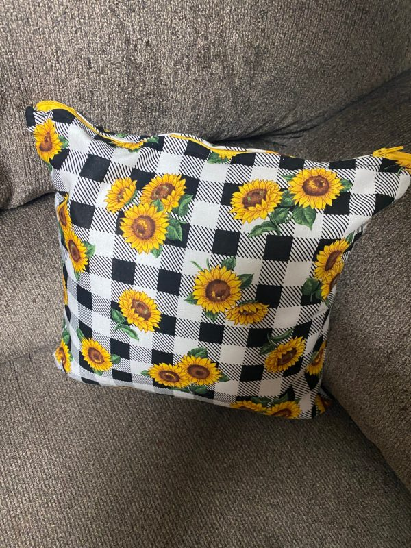 """Sunflower Decorative Pillow - This is a 12"""" square decorative pillow with sunflowers and black and white checkerboard. #Sunflowers"""