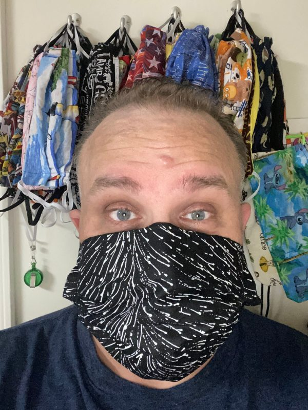 Black with White Swirl Face Mask - A nice elements black fabric with white swirls on it.