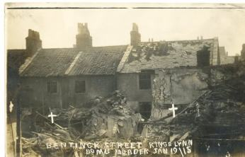 Bomb damage at Bentinck Street.
