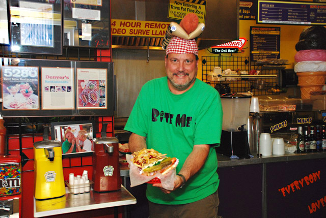 steve ballas with hotdog hat