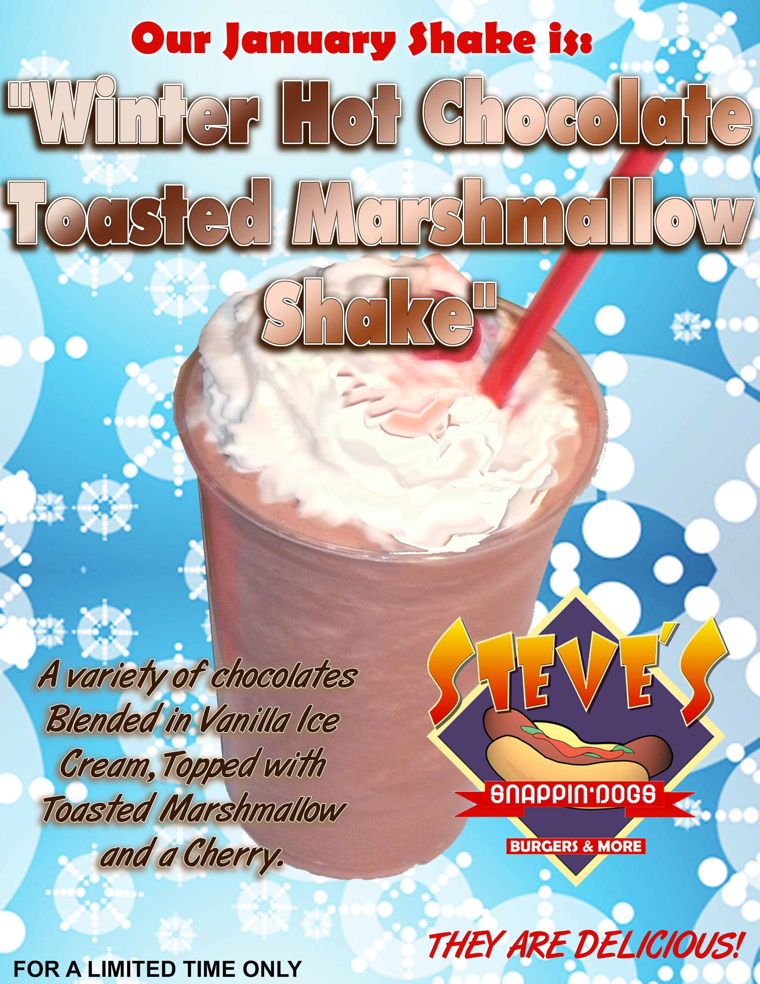 Our January Shake of the Month is Winter Hot Chocolate Toasted Marshmallow Shake
