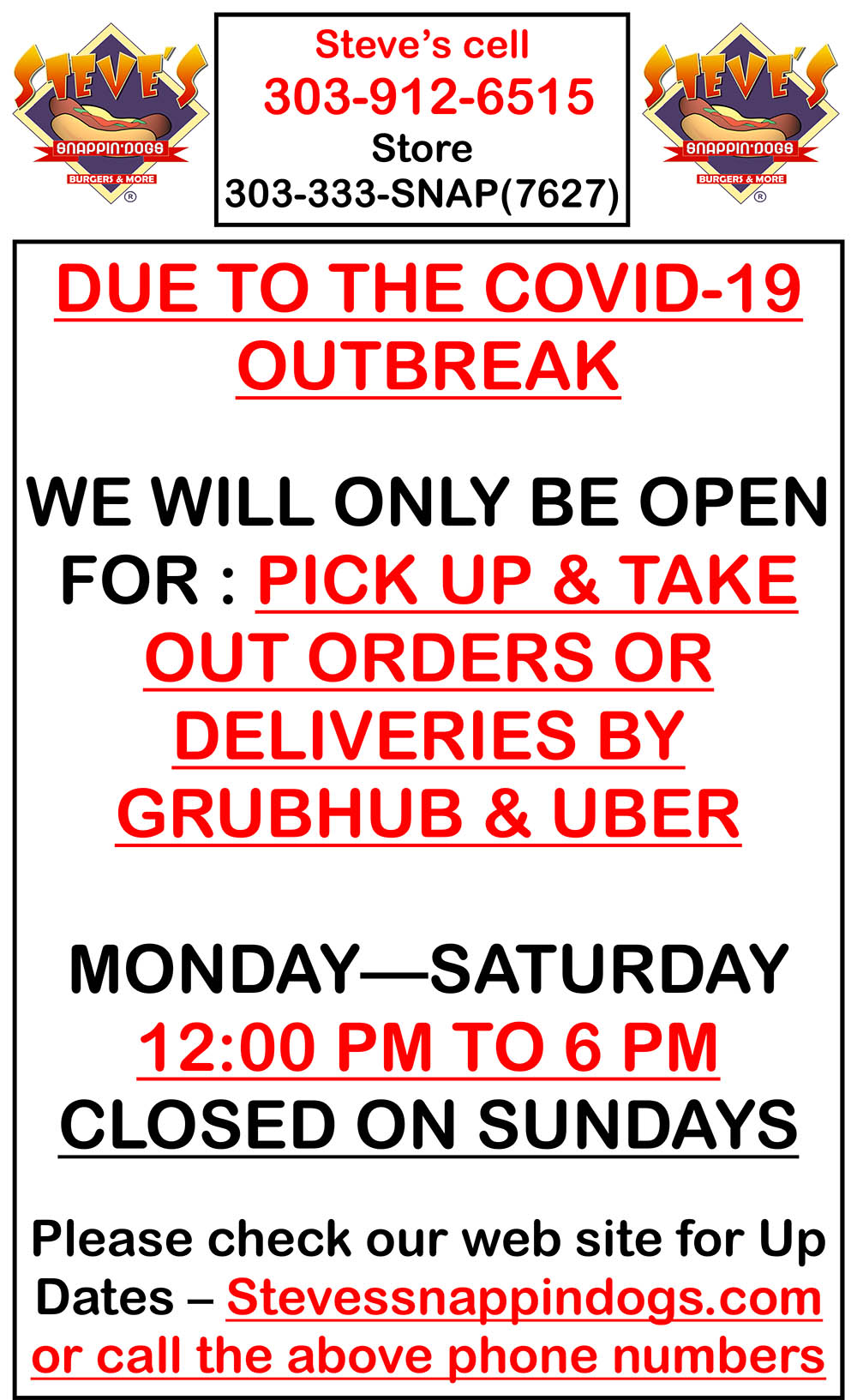 Due to the Covid-19 Outbreak, we have decided to change hours.