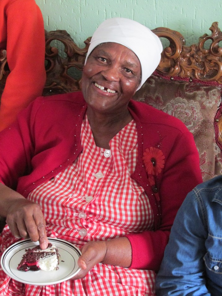 Back in Soweto, Mamatsi at her grandson Sanele's Birthday party