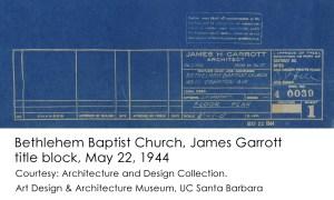 James Garrott Bethlehem Baptist Church title block 1944-5-22