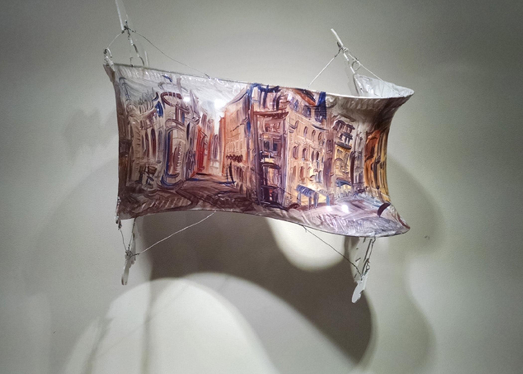 """""""Winding Cityscape,"""" oil w/Liquin on shrink wrap w/wire, tape, Lexan, 2014"""