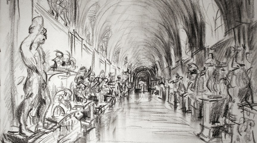 """In the Vatican 2,"" china marker on paper, 11""X 14""  2013"