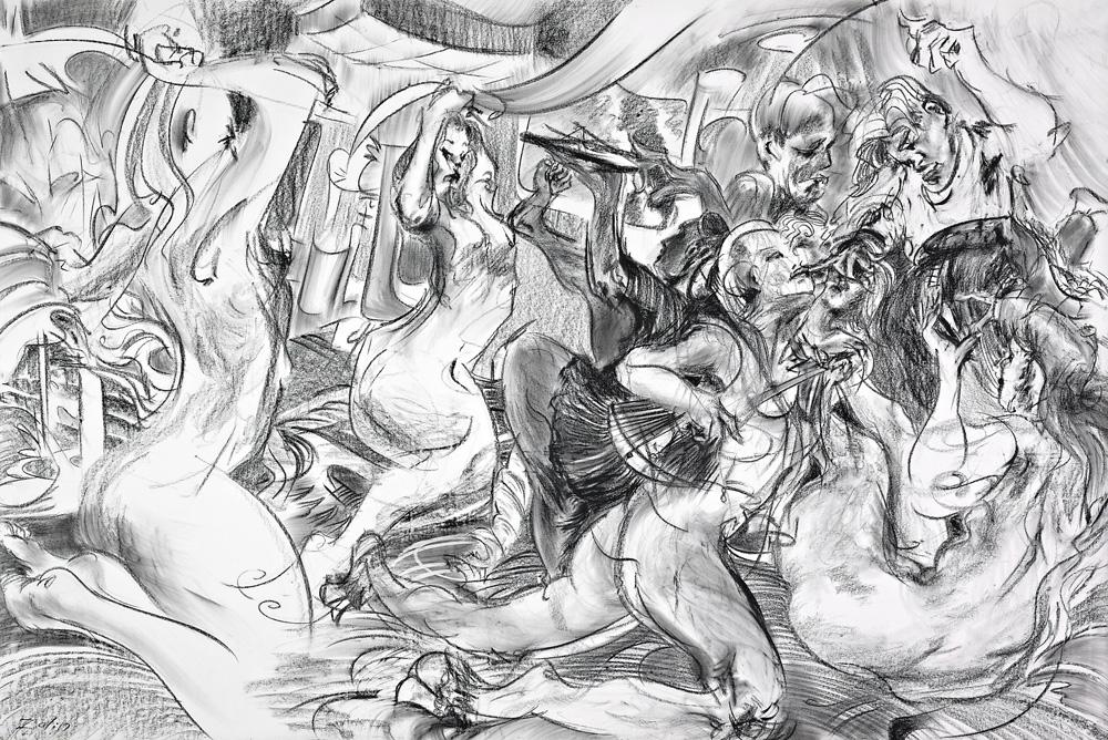"""Janus,"" charcoal on paper, 59""X 89"" 2011"