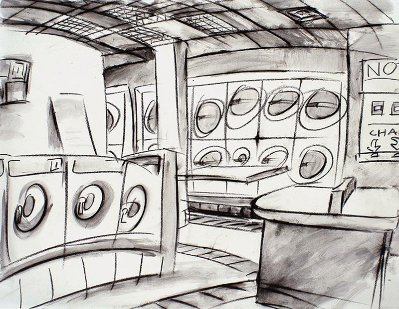 """Laundromat,"" china marker on paper, 18""X 24"" 2006"