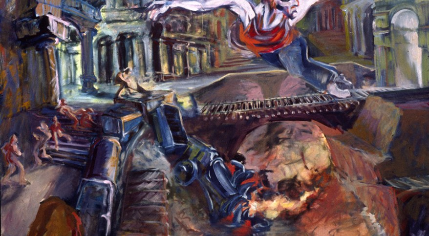 """The Wreck of ol' Number 7,"" oil on canvas, 60""X 72""  1995"