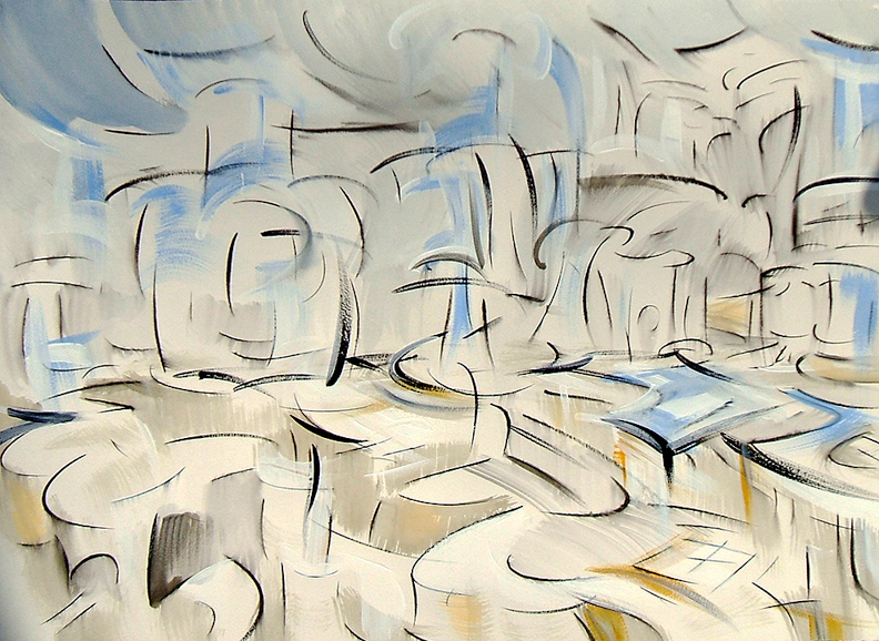 """""""White Motionscape,"""" ink and acrylic on paper, 18""""X 24"""" 2006"""