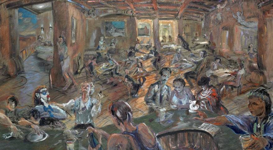""" 'Sipapu' or 'Who Let Sheldon Parsons in Here?' ""  acrylic w/pastel and china marker on toned canvas, 46""X 105"" plus frame  2013"
