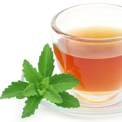 Fresh stevia leaves in tea