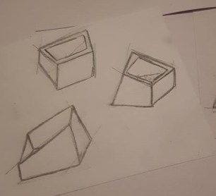 Sketches, distorting cube shapes
