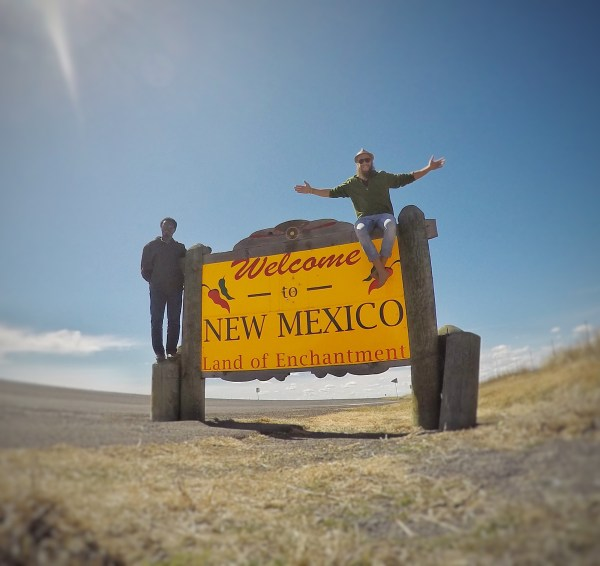 New Mexico state line welcome sign.
