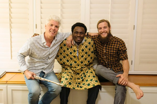 A photo of musicians Chris French, Gustaff Besungu and Stevie Vagabond in California